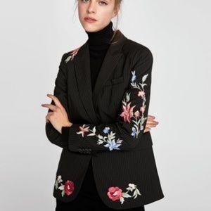 Zara blazer pinstripe flowers